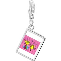 Link Charm Bracelet - 925  sterling silver birds singing photo rectangle frame link charm Image.