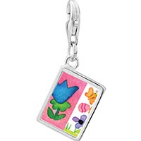 Link Charm Bracelet - 925  sterling silver flowers with butterfly and eggs photo rectangle frame link charm Image.