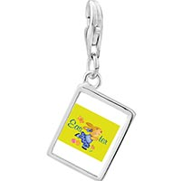 Link Charm Bracelet - 925  sterling silver easter bunny yellow photo rectangle frame link charm Image.