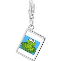 Link Charm Bracelet - 925  sterling silver lovable frog by amber photo rectangle frame link charm Image.
