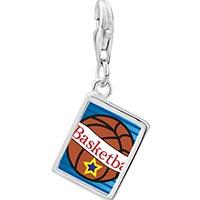 Link Charm Bracelet - 925  sterling silver heart basketball photo rectangle frame link charm Image.