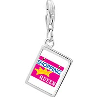 Link Charm Bracelet - 925  sterling silver shopping queen photo rectangle frame link charm Image.
