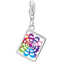 Link Charm Bracelet - 925  sterling silver groovy hypnotic multicolored photo rectangle frame link charm Image.