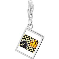 Link Charm Bracelet - 925  sterling silver chess game photo rectangle frame link charm Image.