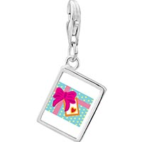Link Charm Bracelet - 925  sterling silver love gift photo rectangle frame link charm Image.