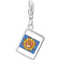 Link Charm Bracelet - 925  sterling silver smiling sunshine by amber photo rectangle frame link charm Image.
