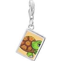 Link Charm Bracelet - 925  sterling silver happy turtle by amber photo rectangle frame link charm Image.