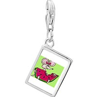 Link Charm Bracelet - 925  sterling silver hungry mouse by amber photo rectangle frame link charm Image.