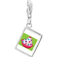 Link Charm Bracelet - 925  sterling silver sweet heart candy photo rectangle frame link charm Image.