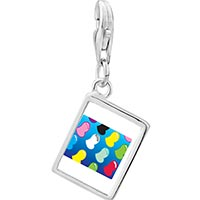 Link Charm Bracelet - 925  sterling silver colorful hearts photo rectangle frame link charm Image.