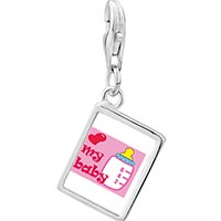 Link Charm Bracelet - 925  sterling silver heart my baby and bottle photo rectangle frame link charm Image.