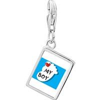 Link Charm Bracelet - 925  sterling silver heart my baby boy foot blue photo rectangle frame link charm Image.