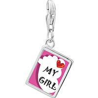 Link Charm Bracelet - 925  sterling silver heart my baby boy foot pink photo rectangle frame link charm Image.