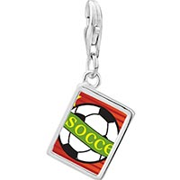 Link Charm Bracelet - 925  sterling silver heart soccer sport photo rectangle frame link charm Image.