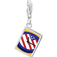 Link Charm Bracelet - 925  sterling silver american flag clock photo rectangle frame link charm Image.
