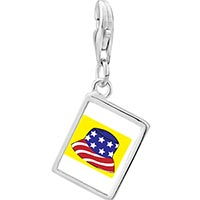 Link Charm Bracelet - 925  sterling silver patriotic american cap photo rectangle frame link charm Image.