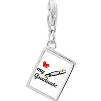 Link Charm Bracelet - 925  sterling silver heart my graduate photo rectangle frame link charm Image.