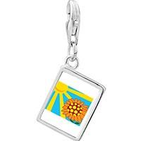 Link Charm Bracelet - 925  sterling silver sunflower in sunlight photo rectangle frame link charm Image.