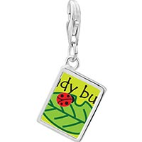 Link Charm Bracelet - 925  sterling silver lady bug on leaf photo rectangle frame link charm Image.