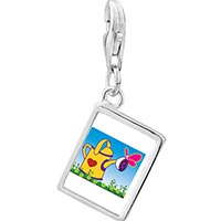 Link Charm Bracelet - 925  sterling silver gardening water bucketphoto rectangle frame link charm Image.