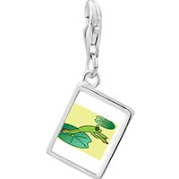 Link Charm Bracelet - 925  sterling silver jumping frog photo rectangle frame link charm Image.