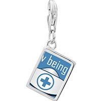Link Charm Bracelet - 925  sterling silver love being a nurse photo rectangle frame link charm Image.