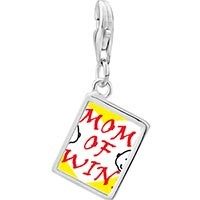 Link Charm Bracelet - 925  sterling silver mom of twins photo rectangle frame link charm Image.