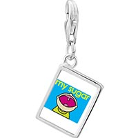 Link Charm Bracelet - 925  sterling silver happy kid with sugar photo rectangle frame link charm Image.
