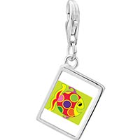 Link Charm Bracelet - 925  sterling silver colorful happy fish photo rectangle frame link charm Image.