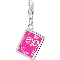 Link Charm Bracelet - 925  sterling silver enjoy life hearts photo rectangle frame link charm Image.