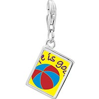 Link Charm Bracelet - 925  sterling silver enjoying life photo rectangle frame link charm Image.