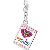 Link Charm Bracelet - 925  sterling silver colorful grandma heart photo rectangle frame link charm Image.