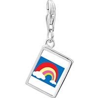 Link Charm Bracelet - 925  sterling silver cloud colorful rainbow photo rectangle frame link charm Image.