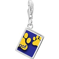 Link Charm Bracelet - 925  sterling silver dog woof paw prints photo rectangle frame link charm Image.