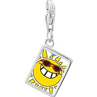Link Charm Bracelet - 925  sterling silver happy rockin'  sunshine photo rectangle frame link charm Image.