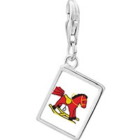 Link Charm Bracelet - 925  sterling silver rocking horse toy photo rectangle frame link charm Image.