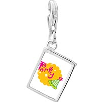 Link Charm Bracelet - 925  sterling silver party celebration hat photo rectangle frame link charm Image.