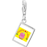 Link Charm Bracelet - 925  sterling silver happy b day pink cake photo rectangle frame link charm Image.