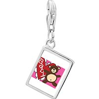 Link Charm Bracelet - 925  sterling silver baby heart bear photo rectangle frame link charm Image.