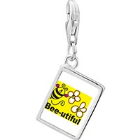 Link Charm Bracelet - 925  sterling silver bee utiful flowers photo rectangle frame link charm Image.