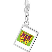 Link Charm Bracelet - 925  sterling silver mom on butterfly photo rectangle frame link charm Image.