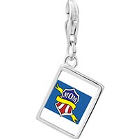 Link Charm Bracelet - 925  sterling silver mom with yellow ribbon photo rectangle frame link charm Image.