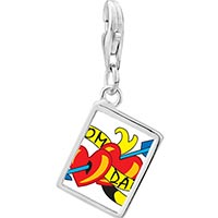Link Charm Bracelet - 925  sterling silver mom and dad heart arrow photo rectangle frame link charm Image.