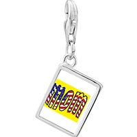 Link Charm Bracelet - 925  sterling silver american mom photo rectangle frame link charm Image.