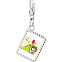 Link Charm Bracelet - 925  sterling silver sleeping baby photo rectangle frame link charm Image.