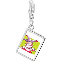 Link Charm Bracelet - 925  sterling silver joker monkey photo rectangle frame link charm Image.