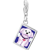 Link Charm Bracelet - 925  sterling silver white dog from heavenphoto rectangle frame link charm Image.