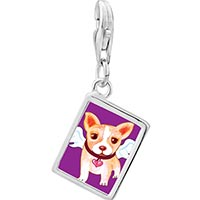 Link Charm Bracelet - 925  sterling silver chihuahua dog from heaven photo rectangle frame link charm Image.