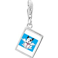Link Charm Bracelet - 925  sterling silver black and white dog from heaven photo rectangle frame link charm Image.