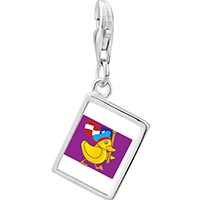 Link Charm Bracelet - 925  sterling silver american duck walking photo rectangle frame link charm Image.